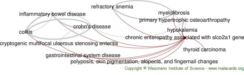 Diseases related to Chronic Enteropathy Associated with Slco2a1 Gene