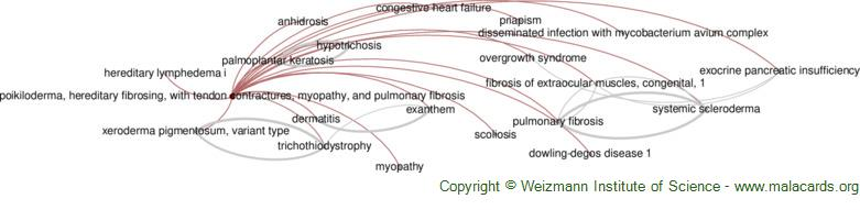 Diseases related to Poikiloderma, Hereditary Fibrosing, with Tendon Contractures, Myopathy, and Pulmonary Fibrosis